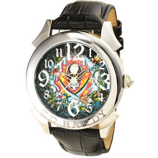 Ed Hardy Mens Revolution Flaming Skull Watch