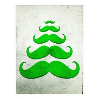 green mustache, Christmas tree shape Custom Letterhead