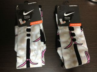 2012 Nike Elite Basketball Socks SZ L Large 8 12 Aunt Pearl KD IV Pink