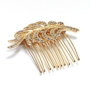 LC Lauren Conrad Gold Tone Simulated Crystal Openwork Leaf Hair Comb