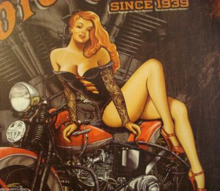 SIGN motor head garage girl vintage bike v twin engine SHIPS WORLDWIDE