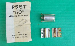 Vtg PSST 50 Jet Engine Rocket Jetex Type Power Unit w Brackets Instruc