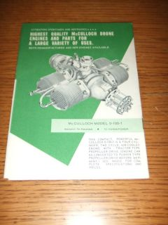 McCulloch Drone Air Boat Engine Model 0 100 1 Parts Propellers Catalog