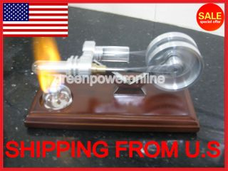 Hot Air Stirling Engine Twin Flywheels Education Toy Electricity Power