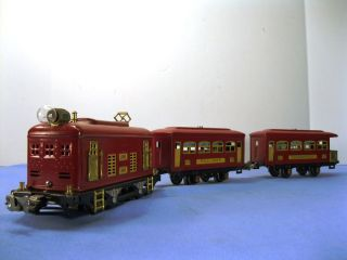 Lionel O Pre War Red Engine 248 Pullman 629 and Observation 630 Set