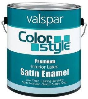Valspar 44 26900 GL 1 Gallon White ColorStyle Interior Latex Satin Enamel Wall Paint, White (4 Pack)